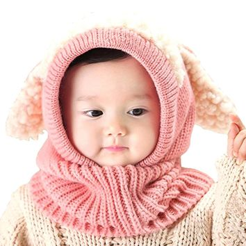Children Cute Knitted Hat Cloak Scarf Trendy Earflap Bunny Ears Sleeve Cap for Infant 6-36 Months  Wear in Autumn and Winter