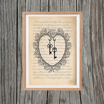 Vintage Love Heart Print Keys Poster Antique Wall Art