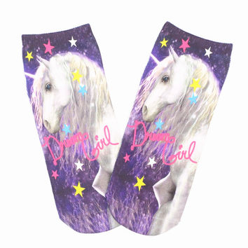 3D Print Socks Woman Printed Bear Space Letter Harajuku Art Cartoon Animal Sock Meias Feminina Unisex Low Cut Ankle Sock King095