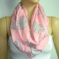 Elephant INFINITY Cotton SCARF - PINK - Elephant printed