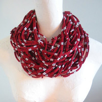Oxblood Infinity Scarf White Navy Stripes Upcycled Eco Friendly Winter Accessories Gifts Under 75 Black Friday Etsy Cyber Monday Etsy