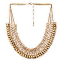 FOREVER 21 Woven Chain-Link Bib Necklace Gold One