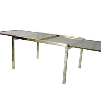 Mastercraft Brass Extension Dining Table. 70's