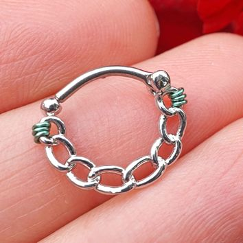Silver Linked Chain Clicker Daith Hoop Ring Rook Hoop Cartilage Helix