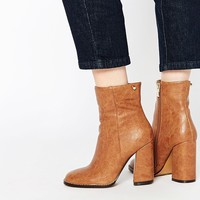 Lost Ink Tan Flared Heeled Ankle Boots