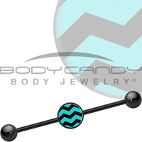 Turquoise Black Chevron Industrial Barbell | Body Candy Body Jewelry