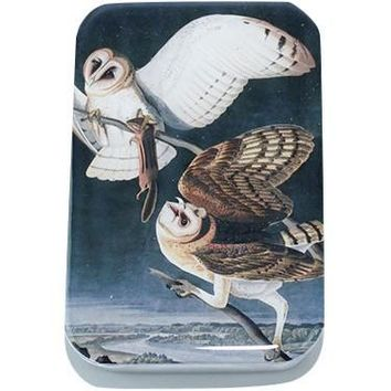 Vintage Barn Owl Tin, Card Case, Pill Box, Slider Tin, Mint Tin - Large