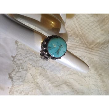 Vintage Genuine Native American Genuine Turquoise Gemstone 925 Sterling Silver Ring