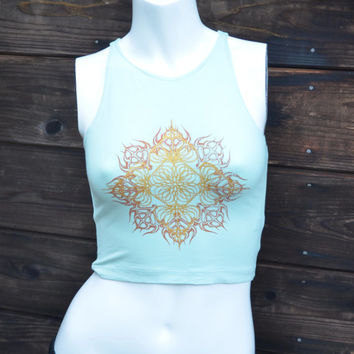 Women's Aqua Fitted Crop Top - Unique Copper and Gold Mandala - Sacred Geometry - Flower of Life - Yoga wear