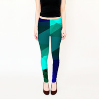 Leggings - Blue and Green Yoga Leggings - Modern Geometric Design Print Leggings - Colorful Leggings, Leggings Women -  Printed Yoga Pants