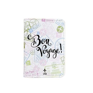 Bon Voyage Visa Stamps [Name Customized] Leather Passport Holder - Leather Passport Cover - Travel Accessory- Travel Wallet for Women and Men_SCORPIOshop