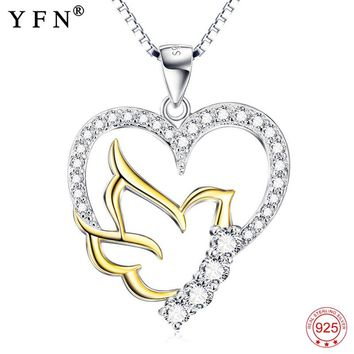 Sterling Silver Jewelry Rhinestone CZ Peace Dove Heart Pendants Necklace