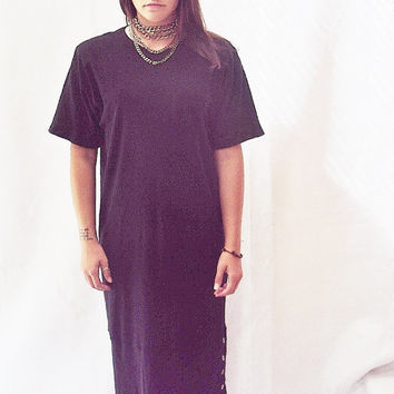 Black Minimalist Oversize Shirt Dress S, M / T Shirt Dress / Black Knit Oversize Dress / Avant garde Dress / SAck Dress /