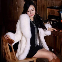 Women Luxury Fox Rabbit Faux Fur Coat