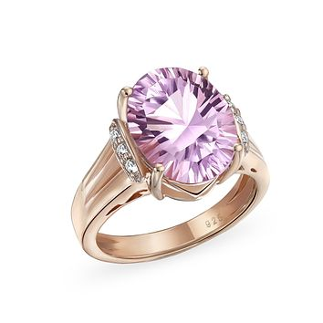 4.47CT Zircon Oval Pink Amethyst Ring Rose Gold Plate Sterling Silver