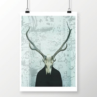 Green Printable Skull Wall Art, Poster Size Photo, Skull and Horns Wall Decor, Modern Home Decor