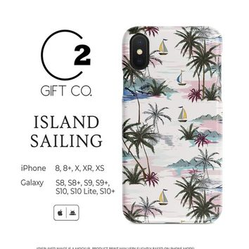 Island Sailing  - Heavy Duty Shock Absorption Phone Case Cover For Iphone X, Xr, Xs, 8, 8+ & Samsung Galaxy S10, S10+, S9, S9+, S8, S8+