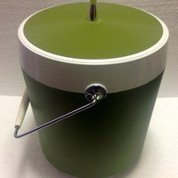 Vintage West Bend Groovy Avocado Green Ice Bucket With Lid