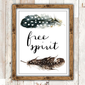 Free Spirit Printable, Boho Feathers Dorm Room Decor, Teen Room Wall Art, Nursery Printable, Pretty Plus Paper 8x10 Instant Download