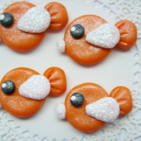 Kawaii Cabochon Flat Backs Orange Tropical Fish for Hair Bows Deco Den DIY Scrapbooking Cards and more - 4pcs