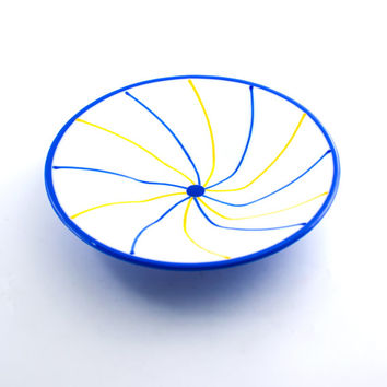 Blue and Yellow Fused Glass Bowl, Unique Design, Decorative Dish, Large Serving Bowl, Shower Hostess Gift, Cool Home Decor, Serve-ware