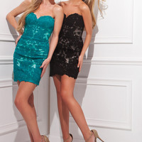 Tony Bowls TS21472 - Teal, Black Strapless Lace Cocktail Dresses Online