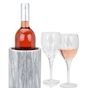 Wine Bottle Cooler Chiller Elegant Marble Grey Keep Cold Wine and Champagne with Multipurpose Use as Kitchen Utensil Holder and Flower Vase  Modern Innovations