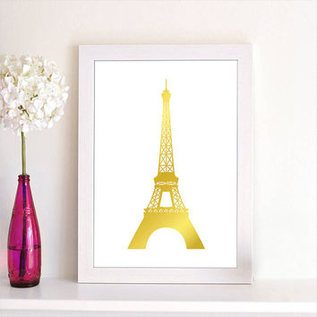 French Decor Print Paris Eiffle Tower in Faux Gold Print Art Poster Print Home Decor Kitchen Decor Bedroom Decor Office Decor Wall Art