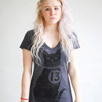 "Black Cat T-Shirt - Vee Neck - Women's Graphic Printed Charcoal Burnout Tee - Unlucky ""13"""