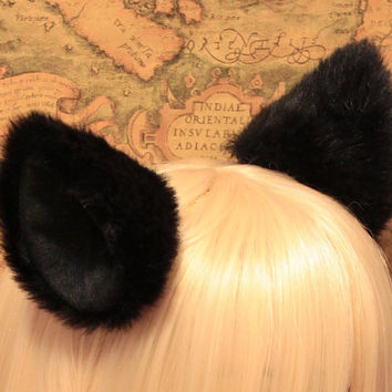 Promotion - New 10 cm BLACK long Fur inner BLACK Cat Ear cat ear clip , w or w/o Ribbon, Cosplay Costumes Party