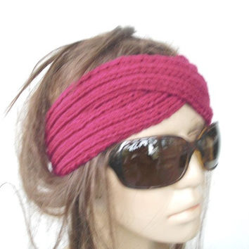 Hand Knit Headband -Braided headband - Turban Hat Headband- Womens Headband- Radiant Orchid Spring Fashion - Mothers Day Gift