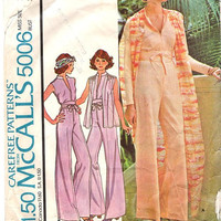 McCall's 5006 Sewing Pattern 1970s Retro Disco Style Jumpsuit Pantsuit One Piece Pants Suit Jumper