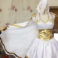 Game LOL Ashe Sexy Lolita party dress cosplay costume Full set custom made halloween costume for women free shipping 2016