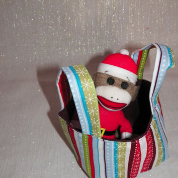Holiday Stripe Teeny Tote Bag with Santa Sock Monkey