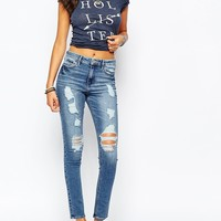 Hollister All-Over Shredded High Waisted Superskinny Jean