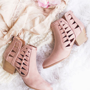 On The Fence Cut Out Booties (Blush)