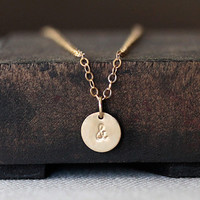 14k initial charm necklace