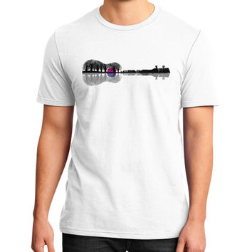 Music instrument tree silhouette ukulele guitar shape District T-Shirt (on man)
