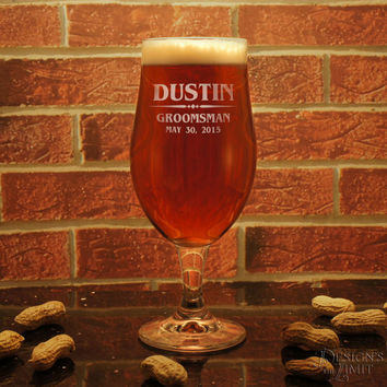 Design's First-Class Beer Glass Personalized Footed-Pilsner with Groomsman Monogram Design Options & Font Selection with Gift Wrap Option