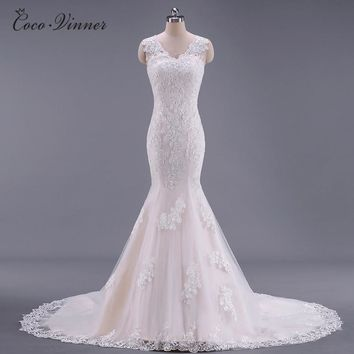 C.V Real Photo Double Shoulder Sexy Lace Mermaid Wedding Dress Fish Tail Custom Made Plus Size China Wedding Dresses 2018 W0024