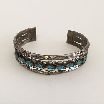 Antique Silver and Turquoise Navajo Cuff