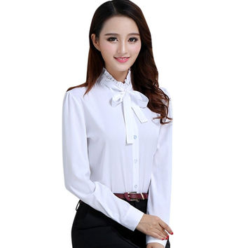 Women Blouse Summer Spring Women Work Blouse OL Slim Blouse Long-sleeve Ladies White Shirts