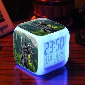 Black Panther Alarm Clock with Led Light - Action Figure