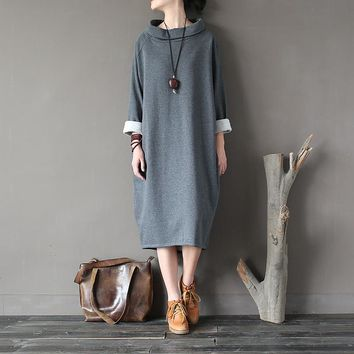 Solid Long sleeve Turtleneck Plus size Women Autumn Dress Cotton Fleece Warm Winter Midi Long Dress Fashion Robe Femme A145