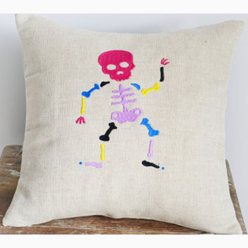 Embroidered skeleton pillow cover, halloween pillow case,  gift pillow cover ,Sugar skull pillow cover