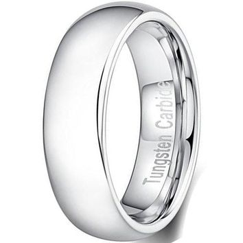 6mm Tungsten Carbide Ring Chrome Plated Simple Style Thin Wedding Engagement Promise White Band (Platinum)