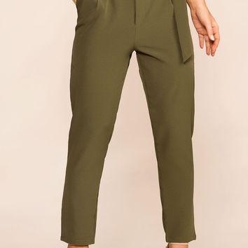 Raegan Olive High Waisted Pants