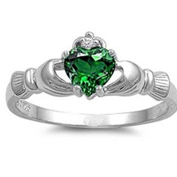 Hot! Irish Heart Shaped Emerald CZ Claddagh 925 Sterling Silver Ring Sizes 6 7 8 9 10 = 1945782980