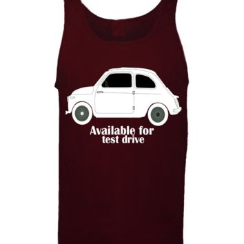 'Taxi Available For Test Drive' Funny Slogan Men Women Unisex Tank Top Vest Gym Summer Singlet (82) Burgundy