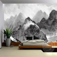 The latest 3D wallpaper, black and white mountains and clouds de parede Papel, the sofa wall bedroom wall paper